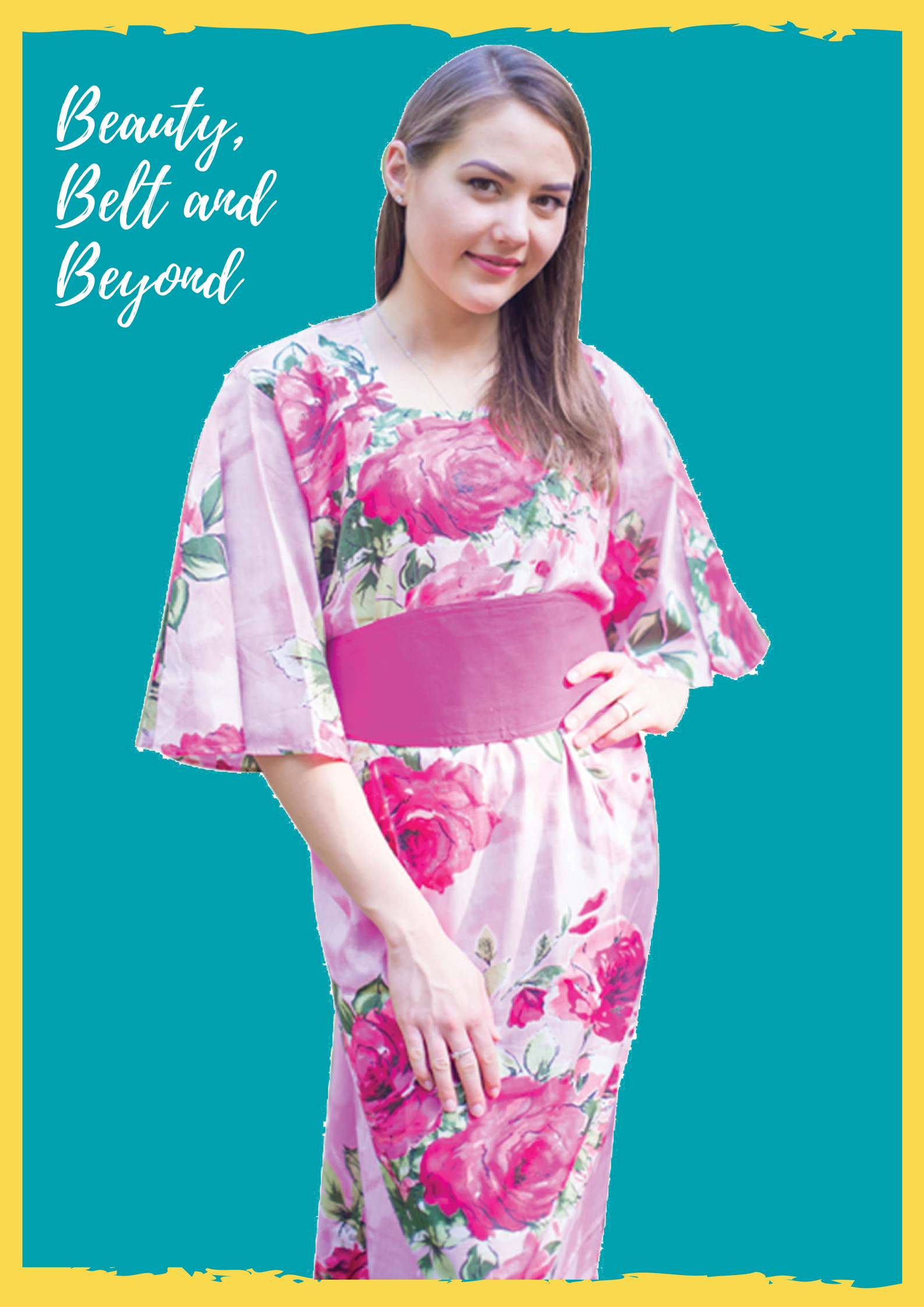 Beauty, Belt and Beyond Kaftan in Large Fuchsia Floral Blossom